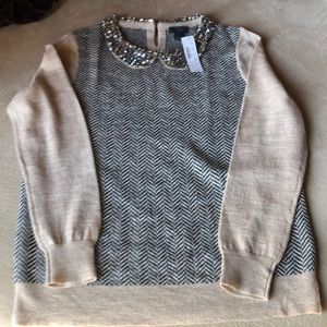 J. Crew Jeweled Peter Pan Collar Sweater